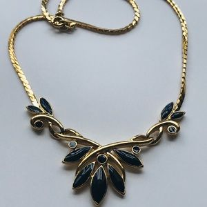 VTG Trifari Leaves Black Enamel & Gold Necklace